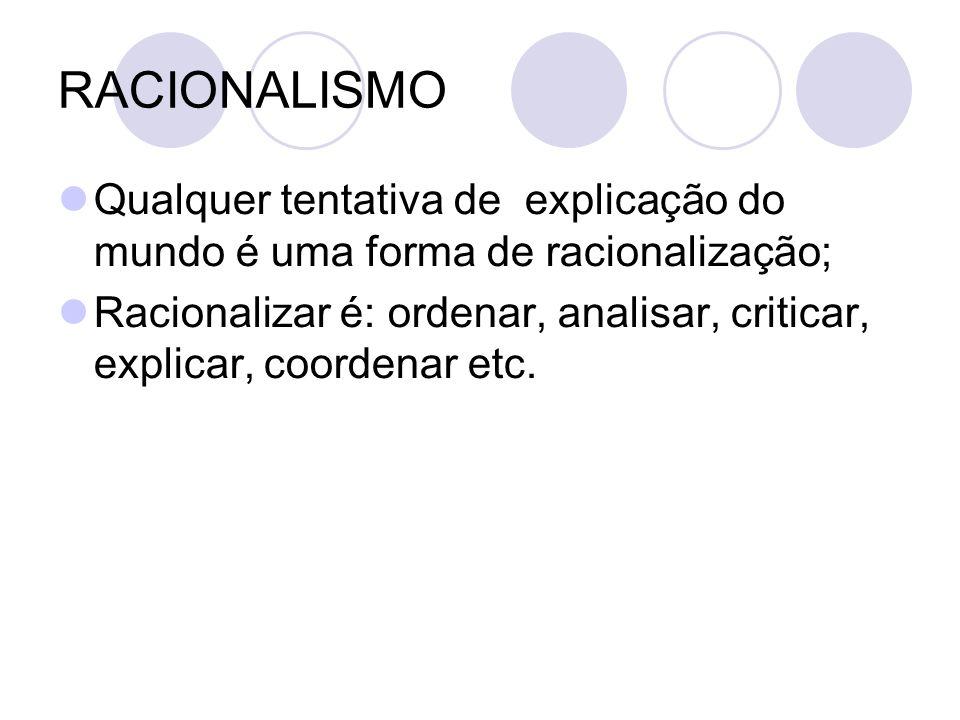RACIONALISMO Qualquer tentativa de explicação do mundo é uma forma de racionalização;