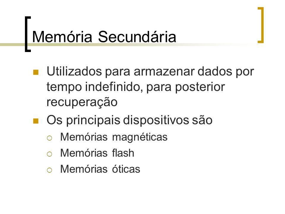 Memória Secundária Utilizados para armazenar dados por tempo indefinido, para posterior recuperação.