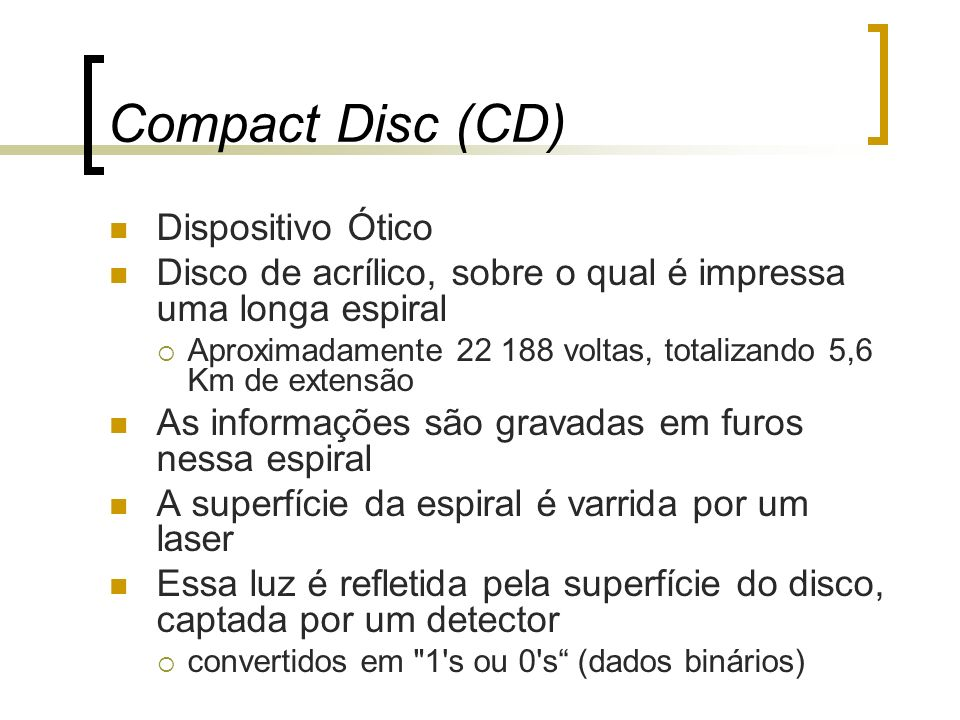 Compact Disc (CD) Dispositivo Ótico