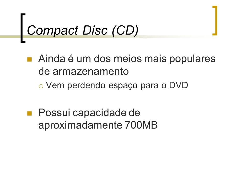 Compact Disc (CD) Ainda é um dos meios mais populares de armazenamento