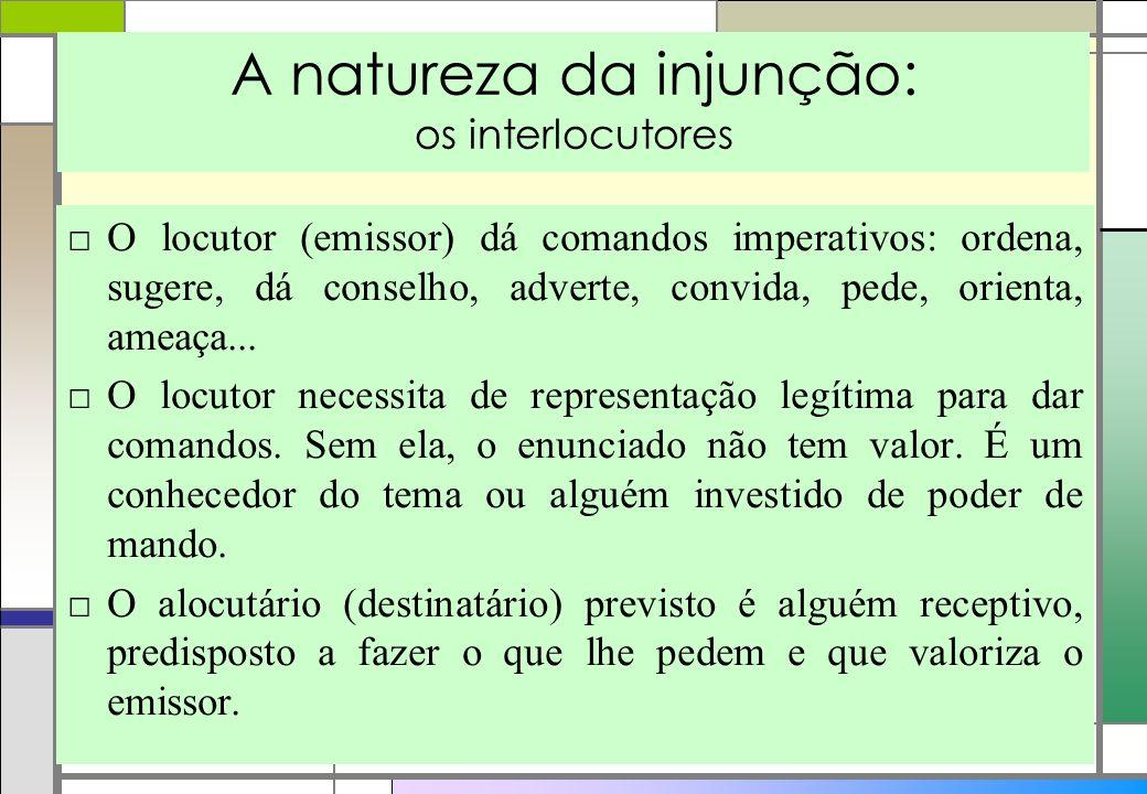 A natureza da injunção: os interlocutores