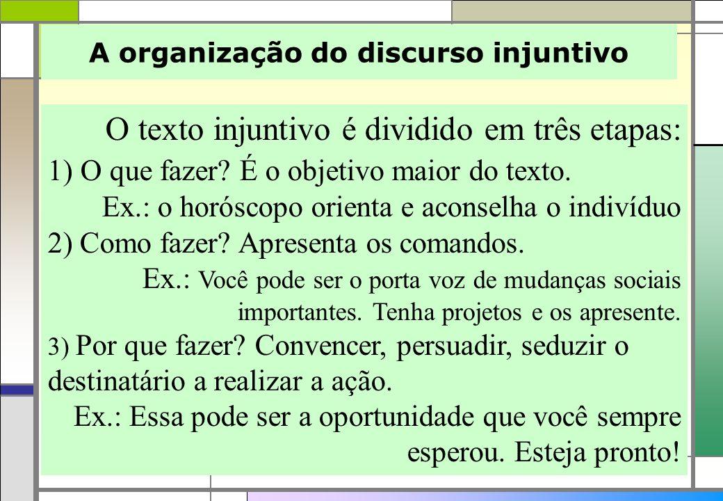 A organização do discurso injuntivo