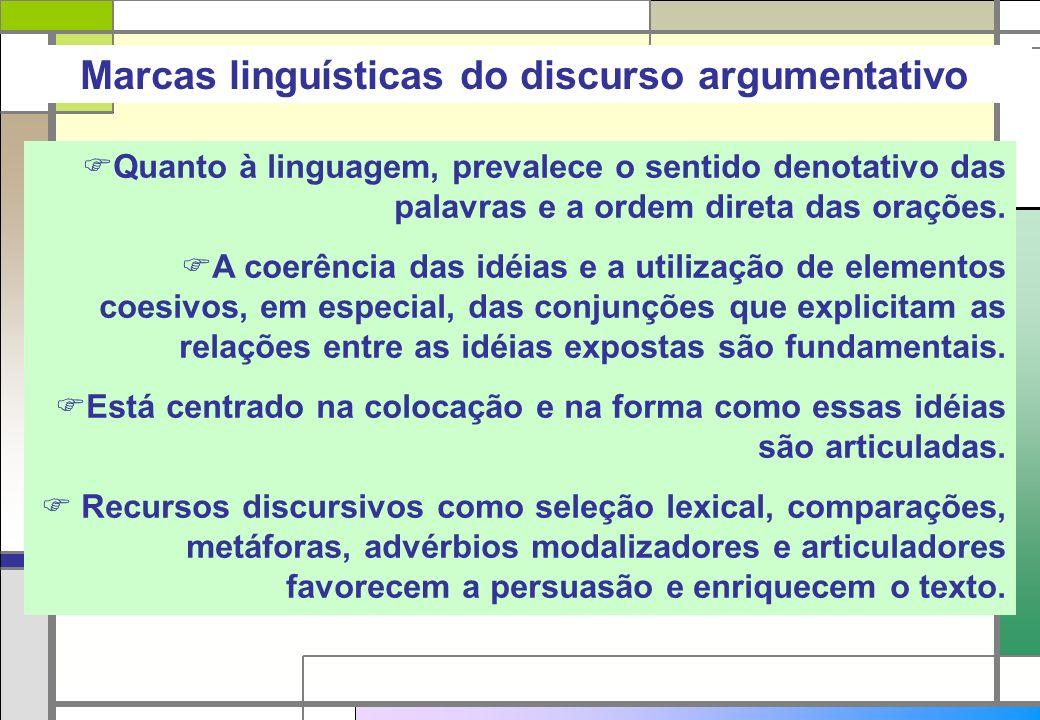 Marcas linguísticas do discurso argumentativo