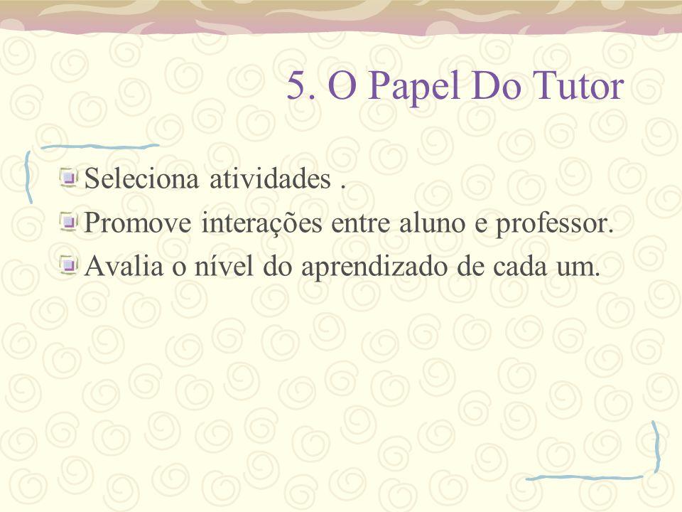 5. O Papel Do Tutor Seleciona atividades .