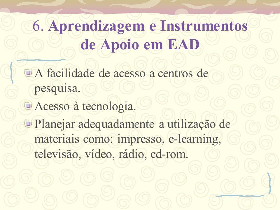 6. Aprendizagem e Instrumentos de Apoio em EAD