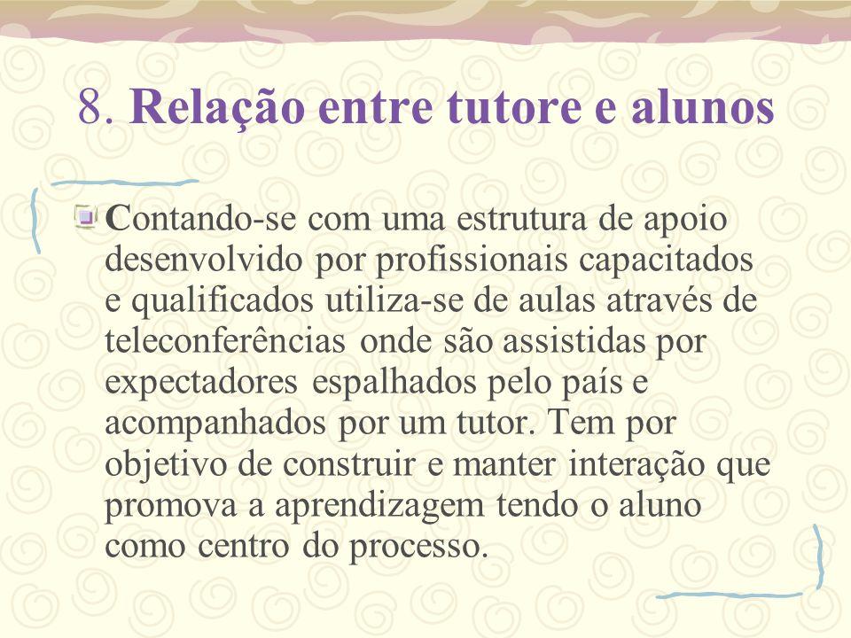 8. Relação entre tutore e alunos