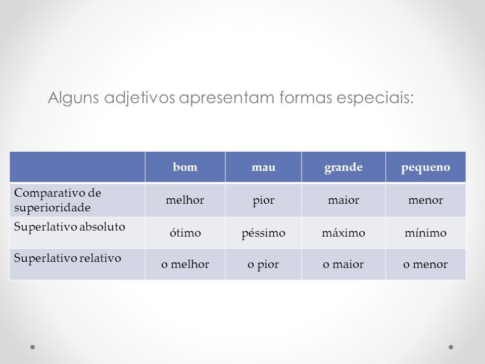 Alguns adjetivos apresentam formas especiais: