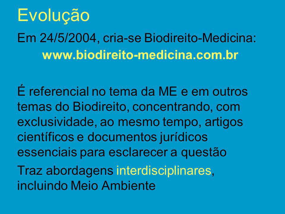 Evolução Em 24/5/2004, cria-se Biodireito-Medicina: