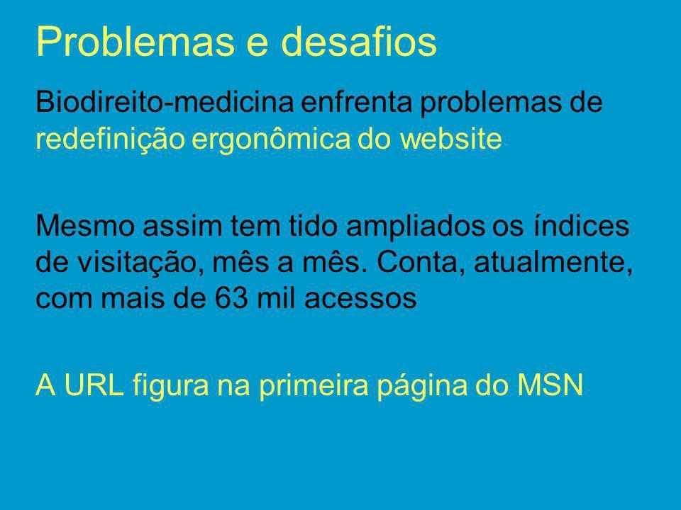 Problemas e desafios Biodireito-medicina enfrenta problemas de redefinição ergonômica do website.