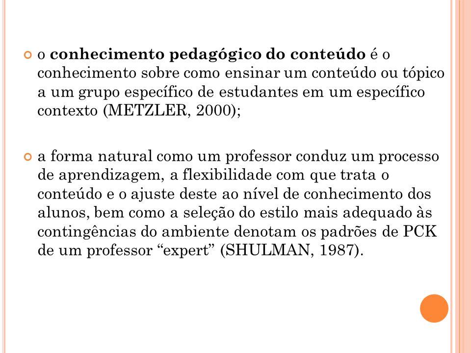 o conhecimento pedagógico do conteúdo é o conhecimento sobre como ensinar um conteúdo ou tópico a um grupo específico de estudantes em um específico contexto (METZLER, 2000);
