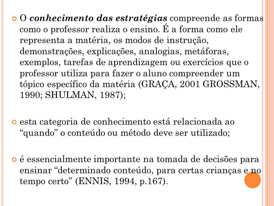 O conhecimento das estratégias compreende as formas como o professor realiza o ensino. É a forma como ele representa a matéria, os modos de instrução, demonstrações, explicações, analogias, metáforas, exemplos, tarefas de aprendizagem ou exercícios que o professor utiliza para fazer o aluno compreender um tópico específico da matéria (GRAÇA, 2001 GROSSMAN, 1990; SHULMAN, 1987);