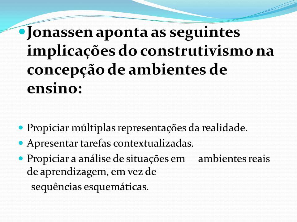 Jonassen aponta as seguintes implicações do construtivismo na concepção de ambientes de ensino: