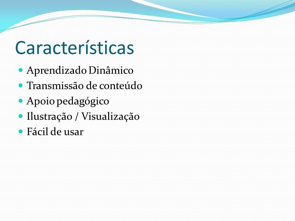 Características Aprendizado Dinâmico Transmissão de conteúdo