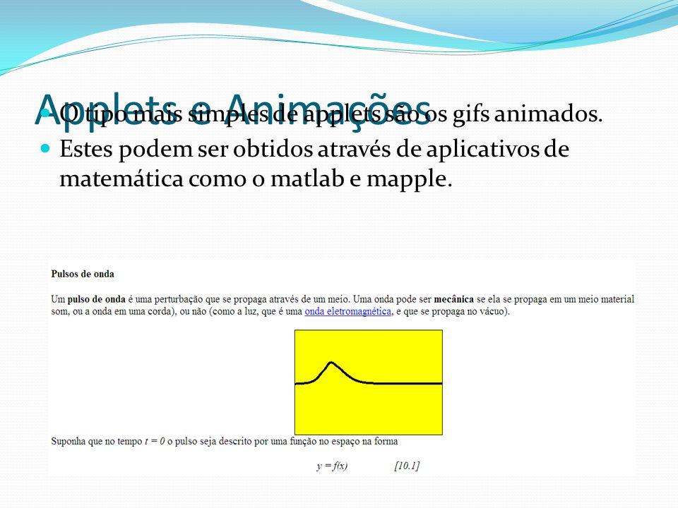 Applets e Animações O tipo mais simples de applets são os gifs animados.
