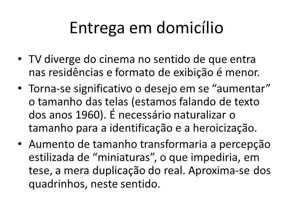 Entrega em domicílio TV diverge do cinema no sentido de que entra nas residências e formato de exibição é menor.
