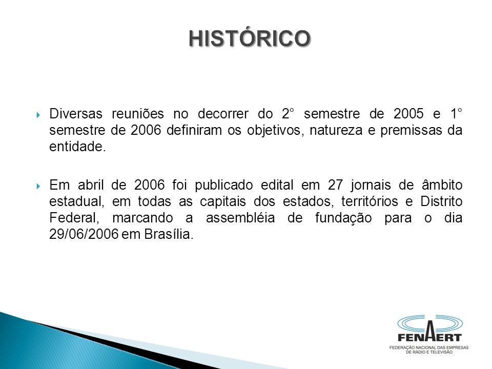 HISTÓRICO Diversas reuniões no decorrer do 2° semestre de 2005 e 1° semestre de 2006 definiram os objetivos, natureza e premissas da entidade.