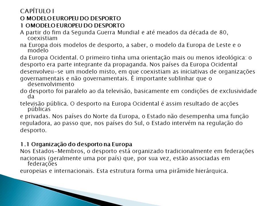 CAPÍTULO I O MODELO EUROPEU DO DESPORTO 1 OMODELO EUROPEU DO DESPORTO