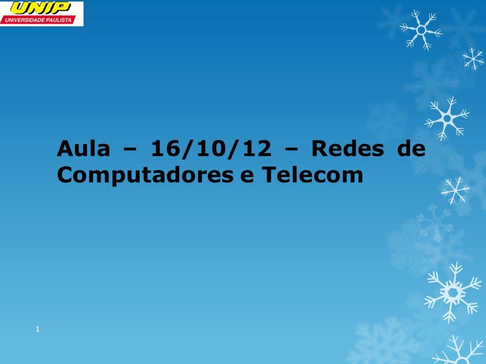 Aula – 16/10/12 – Redes de Computadores e Telecom