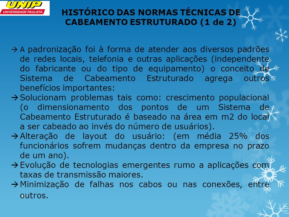 HISTÓRICO DAS NORMAS TÉCNICAS DE CABEAMENTO ESTRUTURADO (1 de 2)