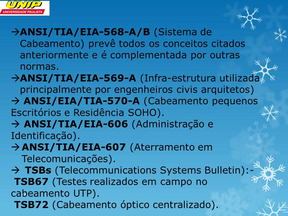 ANSI/TIA/EIA-568-A/B (Sistema de Cabeamento) prevê todos os conceitos citados anteriormente e é complementada por outras normas.