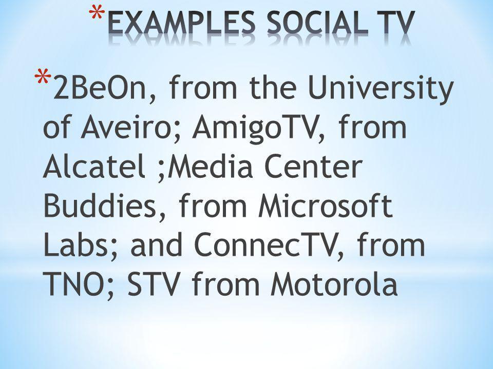 EXAMPLES SOCIAL TV