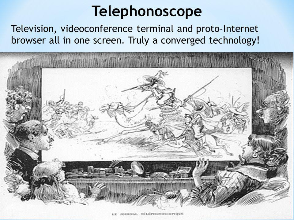 Telephonoscope Television, videoconference terminal and proto-Internet browser all in one screen.