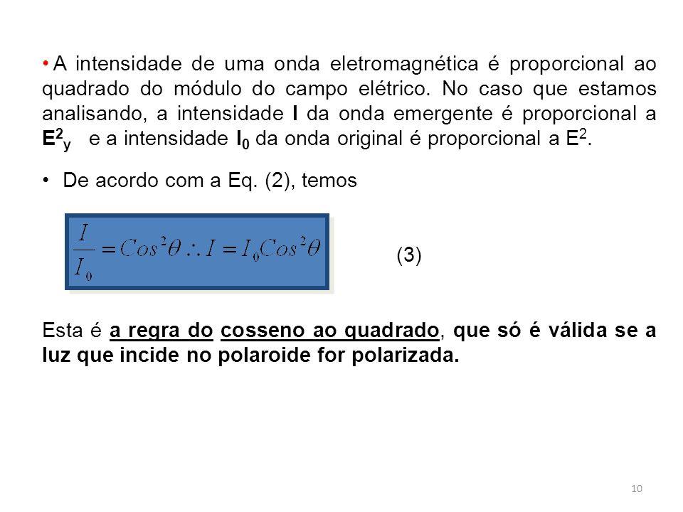 A intensidade de uma onda eletromagnética é proporcional ao quadrado do módulo do campo elétrico. No caso que estamos analisando, a intensidade I da onda emergente é proporcional a E2y e a intensidade I0 da onda original é proporcional a E2.