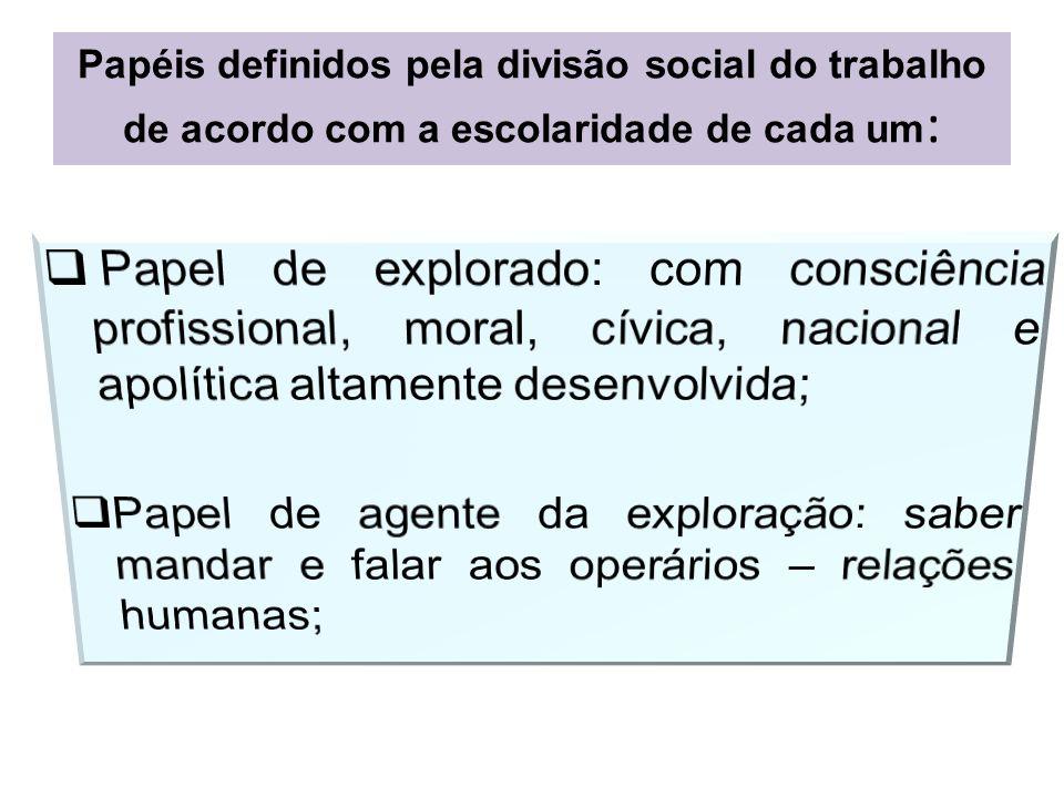 Papéis definidos pela divisão social do trabalho de acordo com a escolaridade de cada um: