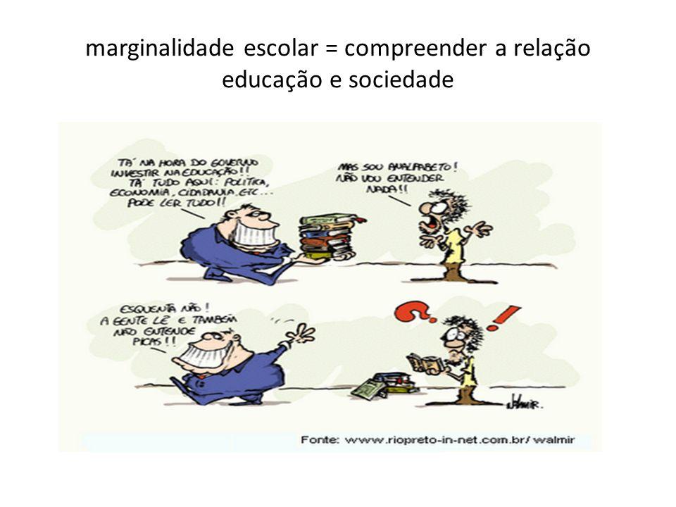 marginalidade escolar = compreender a relação educação e sociedade