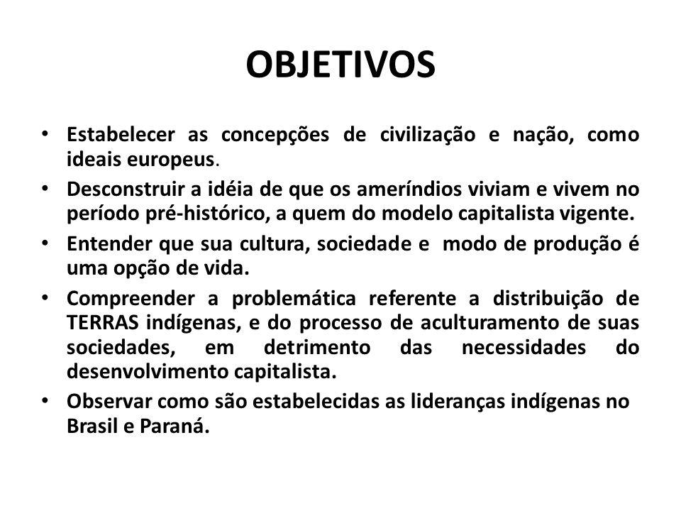 OBJETIVOS Estabelecer as concepções de civilização e nação, como ideais europeus.