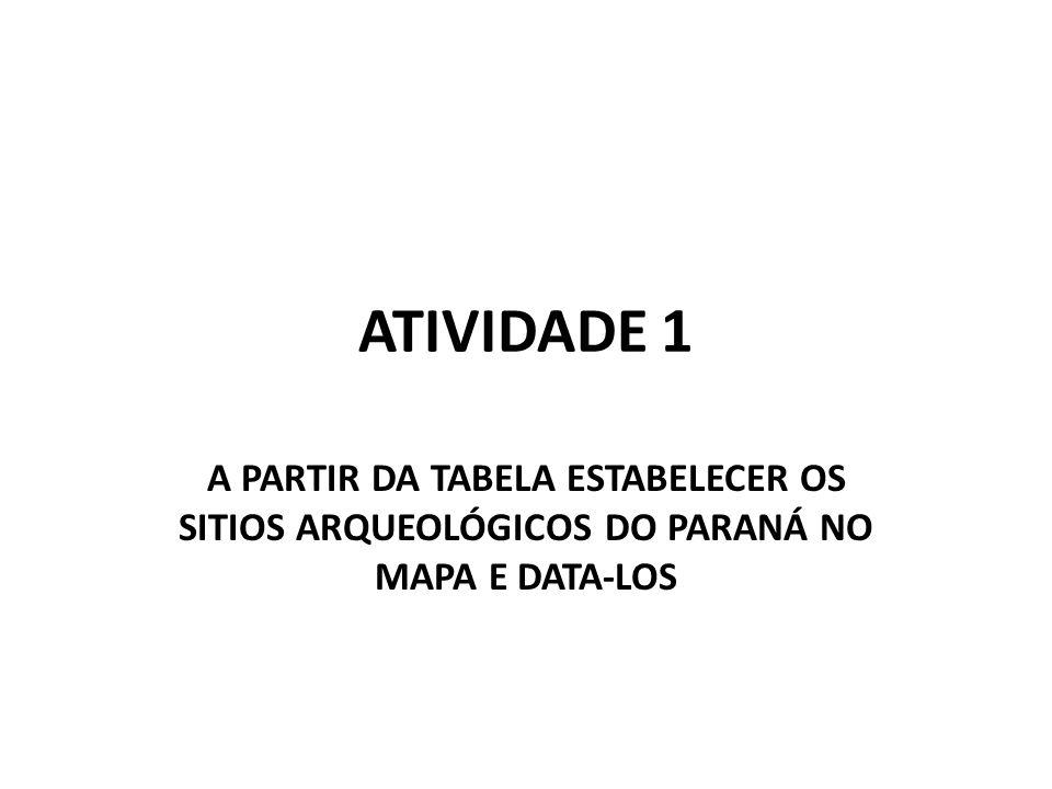 ATIVIDADE 1 A PARTIR DA TABELA ESTABELECER OS SITIOS ARQUEOLÓGICOS DO PARANÁ NO MAPA E DATA-LOS