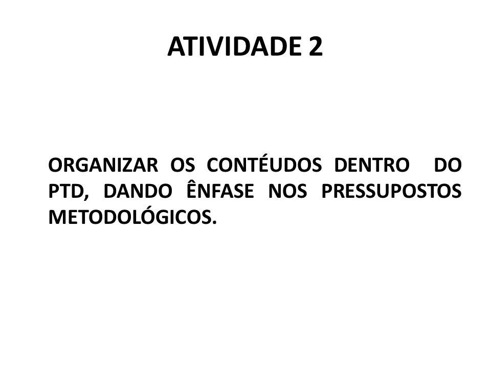 ATIVIDADE 2 ORGANIZAR OS CONTÉUDOS DENTRO DO PTD, DANDO ÊNFASE NOS PRESSUPOSTOS METODOLÓGICOS.