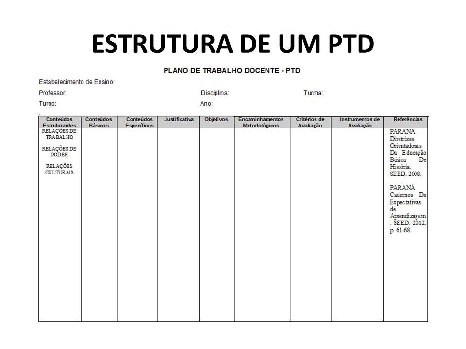 ESTRUTURA DE UM PTD