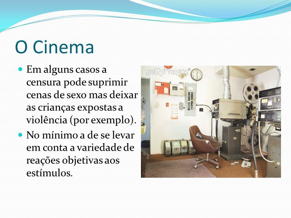 O Cinema Em alguns casos a censura pode suprimir cenas de sexo mas deixar as crianças expostas a violência (por exemplo).
