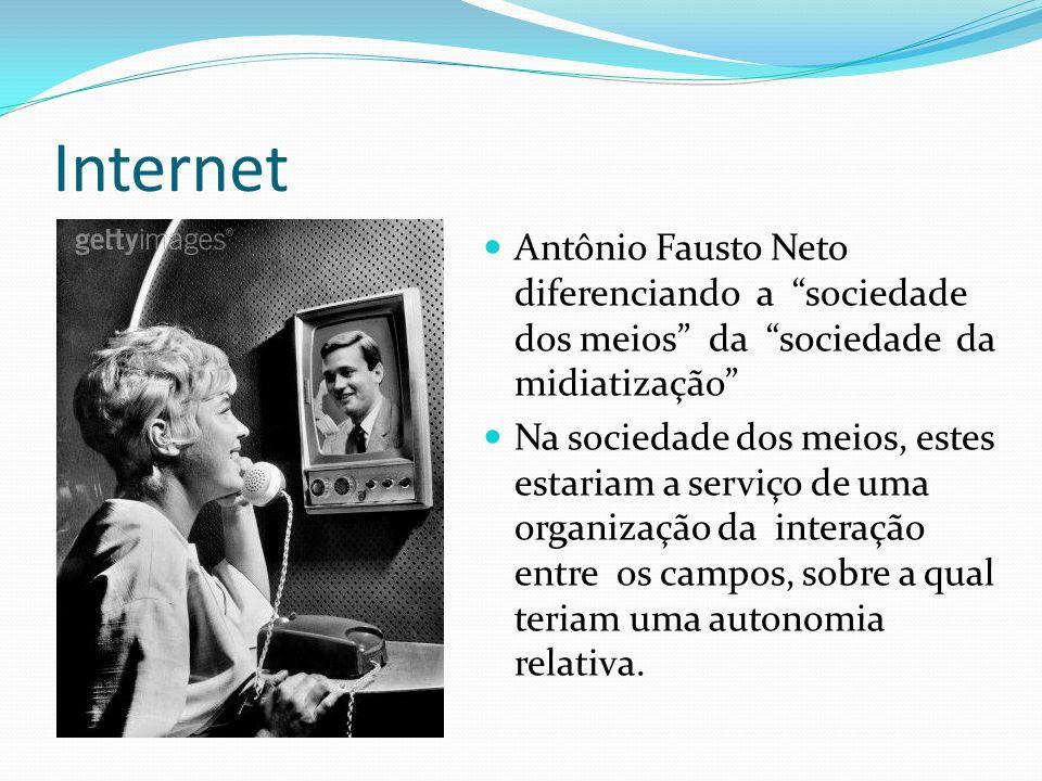Internet Antônio Fausto Neto diferenciando a sociedade dos meios da sociedade da midiatização