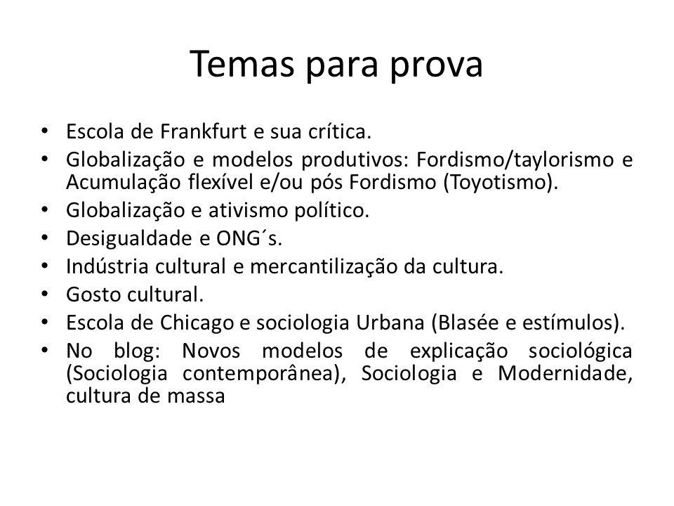 Temas para prova Escola de Frankfurt e sua crítica.