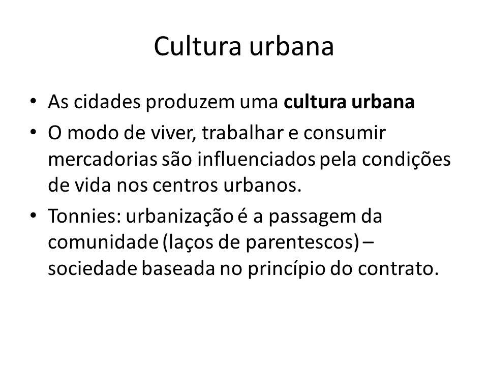 Cultura urbana As cidades produzem uma cultura urbana