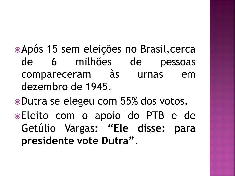 Após 15 sem eleições no Brasil,cerca de 6 milhões de pessoas compareceram às urnas em dezembro de 1945.