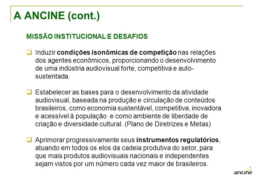 A ANCINE (cont.) MISSÃO INSTITUCIONAL E DESAFIOS