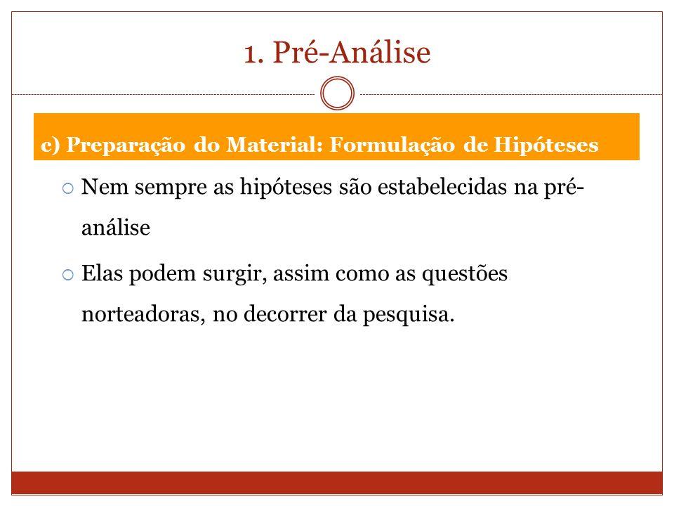 1. Pré-Análise c) Preparação do Material: Formulação de Hipóteses. Nem sempre as hipóteses são estabelecidas na pré- análise.