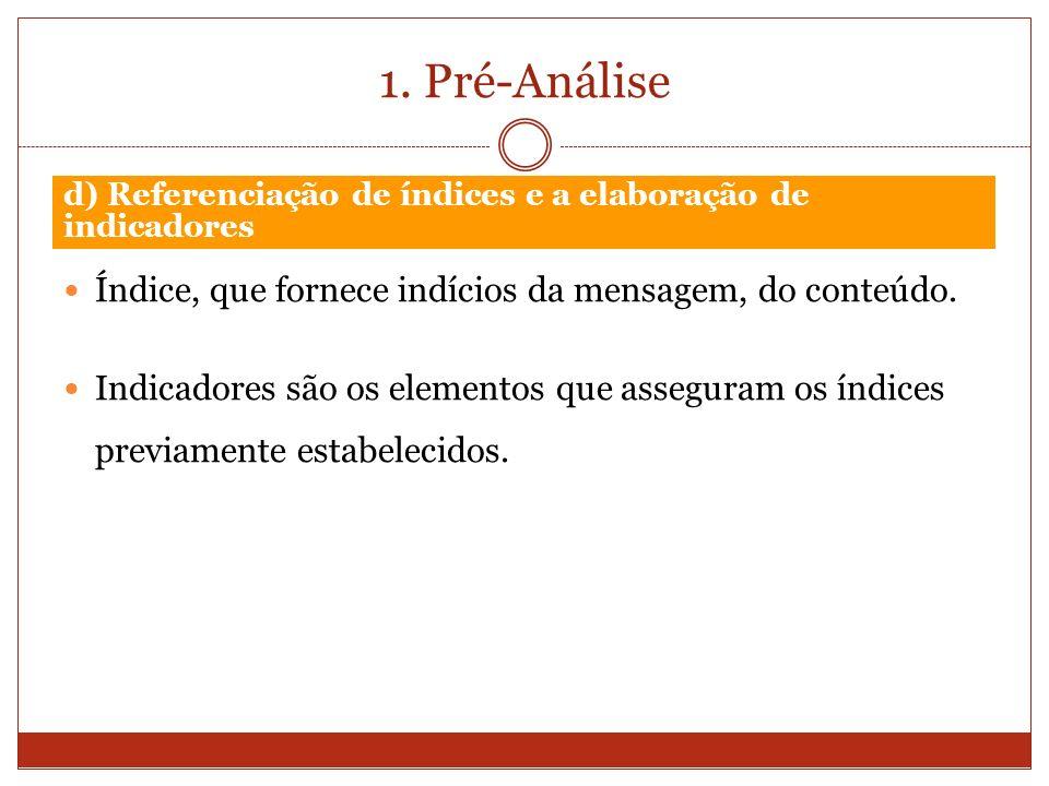 1. Pré-Análise Índice, que fornece indícios da mensagem, do conteúdo.