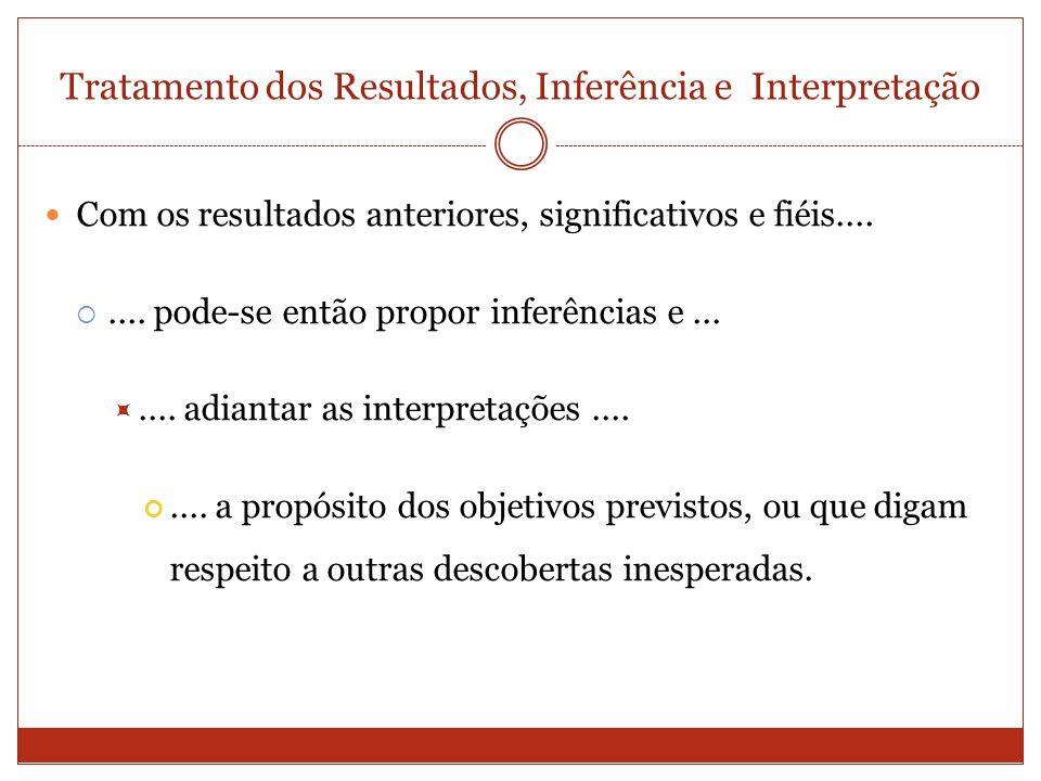 Tratamento dos Resultados, Inferência e Interpretação