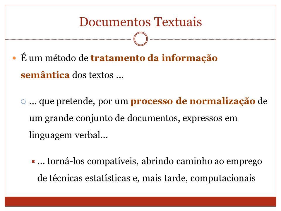 Documentos Textuais É um método de tratamento da informação semântica dos textos ...