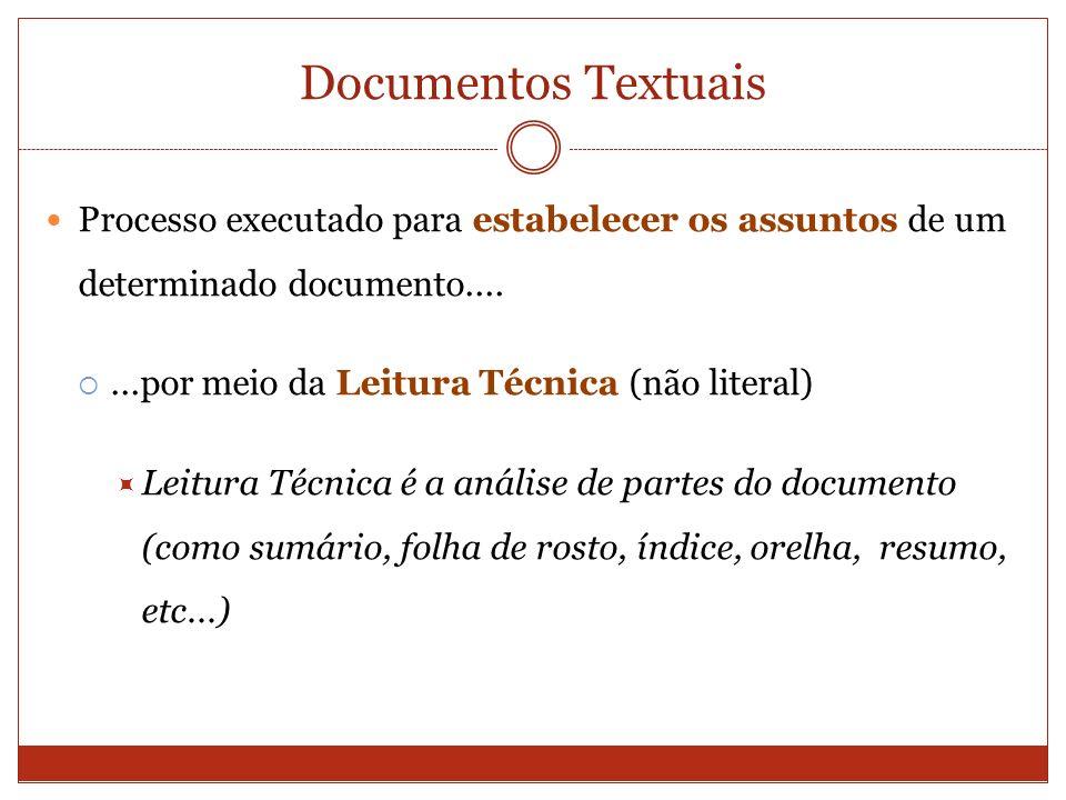 Documentos Textuais Processo executado para estabelecer os assuntos de um determinado documento....