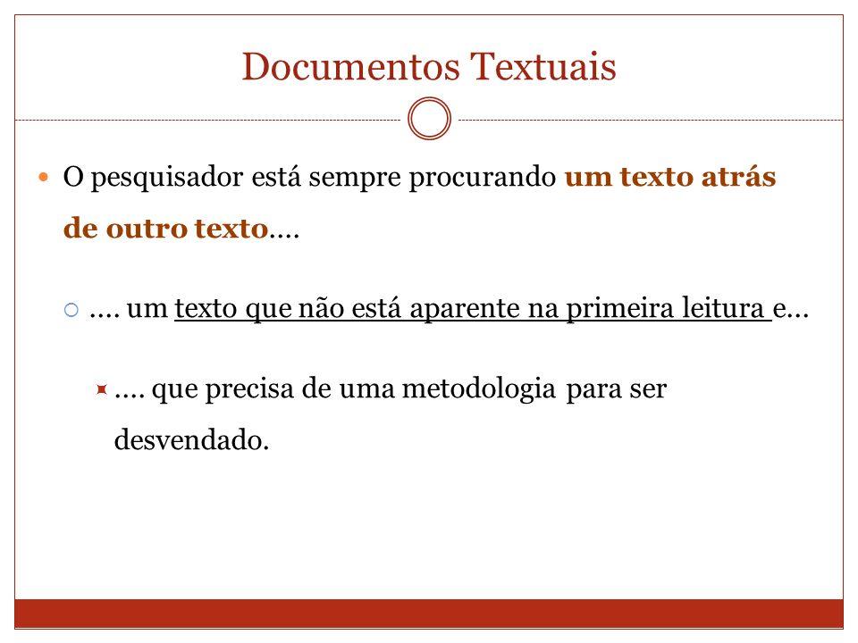 Documentos Textuais O pesquisador está sempre procurando um texto atrás de outro texto....