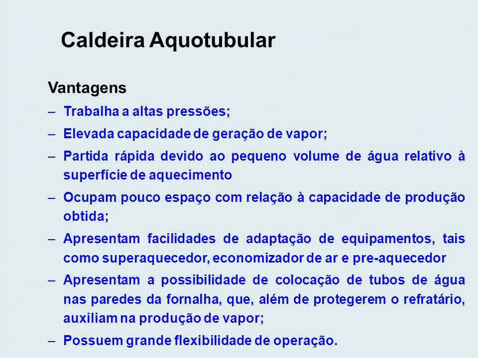 Caldeira Aquotubular Vantagens Trabalha a altas pressões;