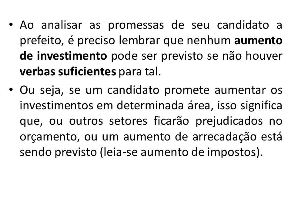 Ao analisar as promessas de seu candidato a prefeito, é preciso lembrar que nenhum aumento de investimento pode ser previsto se não houver verbas suficientes para tal.