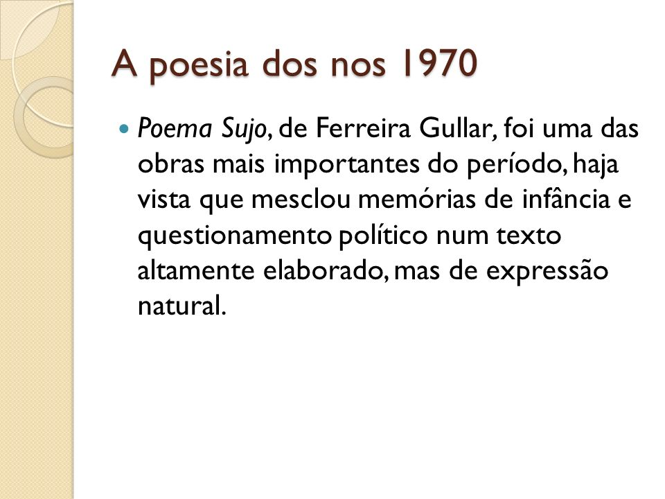 A poesia dos nos 1970