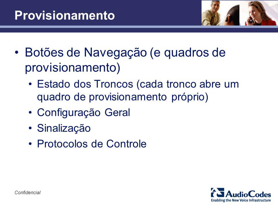 Botões de Navegação (e quadros de provisionamento)