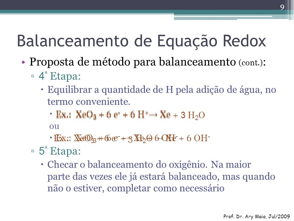 Balanceamento de Equação Redox